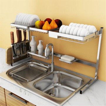 Stainless Steel Kitchen Shelf Rack Plate Dish Rack Drying Drain...